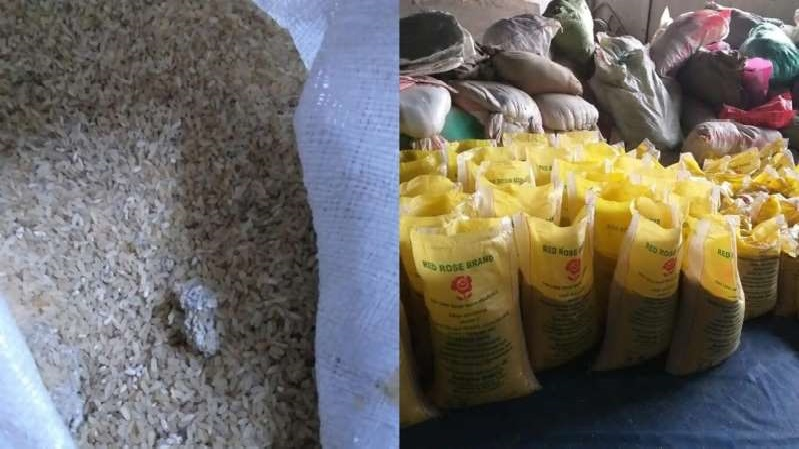 Photos of Expired rice  bags  seized  by DCI Kenya
