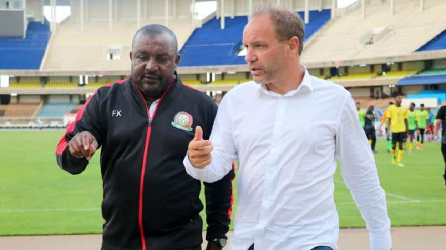 Sebastien Migne alongside his assistant coach Francis Kimanzi  at Kasarani Stadium
