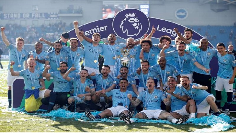 Manchester City after winning the English premier league 2018