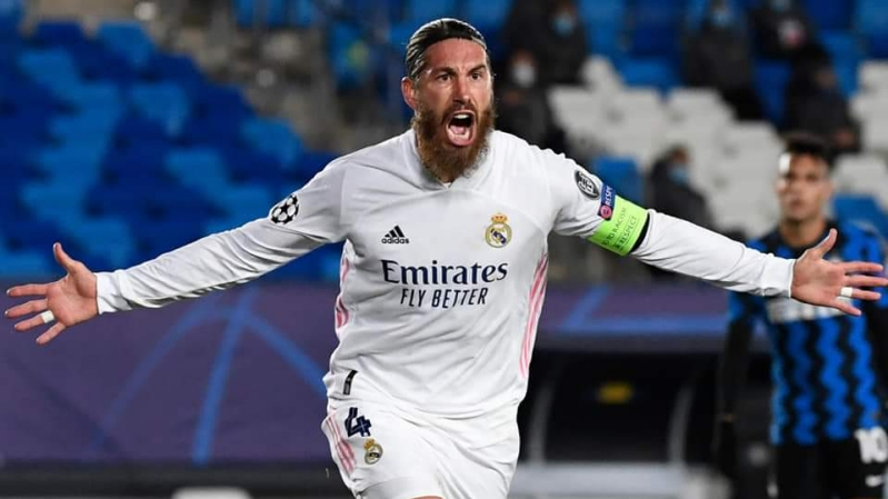 Sergio Ramos celebrating after scoring against Inter Milan in the UCL played on Tuesday 3rd November 2020.